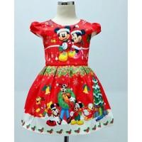 Dress Anak Natal Mickey Gofy Merah (082039)