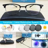 kacamata half frame high quality + lensa photocromic rubah warna