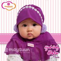 Jilbab bayi instant maysuun model mutiara pompom anti gerah usia 0-1th