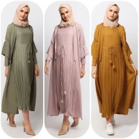 Gamis Muslim Wanita Le Najwa Laura Dress Earth Tone