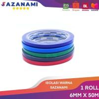 Isolasi warna 6mm x 50m sazanami selotip solasi lakban tapes opp warna - BIRU TUA