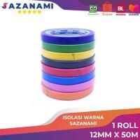 lakban isolasi warna 12mm x 50M sazanami selotip solatip warna - Merah Muda