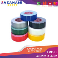 lakban kain Hitam 2 Inch x 45m Sazanami Cloth Tape Warna 48mm Jumbo