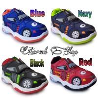 Sepatu anak laki-laki LED / Sport Car lampu / Kets Sekolah TK Record - 24, Biru