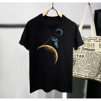 T-shirt Astronaut / Baju Kaos Distro Pria Wanita Hitam Pendek Slimfit