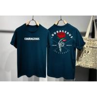 T-shirt Courageous / Baju Kaos Distro Pria Wanita Hijau Pendek Slimfit