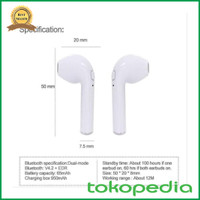 HEADSET BLUETOOTH EARPHONE WIRELESS I7S AIRPODS with CASE CHARGER