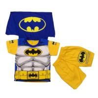 Setelan Anak Laki-Laki Pendek Batman Biru Sayap Baju Kaos Superhero