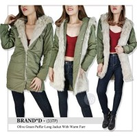 G*P original Olive green puffer long jacket with warm furr