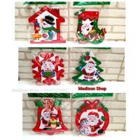 Krans Pintu Natal Murah Gantungan Pohon Natal Santa Snowflake Lonceng