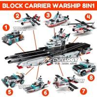 PAKET Mainan Block Qman Carrier Warship 8in1 Kapal Pesawat 1406