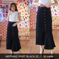 Rok Maxi Jeans Wanita Mermaid Skirt Black Flare Rumbai Button Hitam