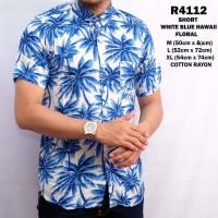 R4112 - Short White Blue Hawaii Floral Shirt / Baju Kemeja Pantai Pria
