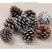 Hiasan Pinus Salju - Aksesoris Dekorasi Dekor Ornamen Pohon Natal
