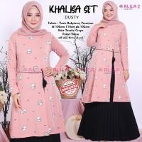 Baju Muslim Wanita Gamis Set Khalisa Dusty Original