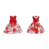 Dress anak perempuan pita besar merah motif full bunga IMPORT - 110