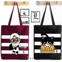 HANDBAGKU TAS LEVEL TOTE BAG HIJAB PRINTING WARNA FASHION WANITA
