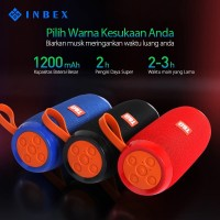 INBEX Speaker Wireless/Nirkabel Bluetooth LED Bass Stereo