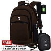 PL POWER Tas Ransel USB Charger Import P501 Tas Pria Tas Laptop Coffee