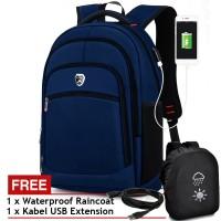 PL POWER Tas Ransel USB Charger Import P1501 Tas Pria Tas Laptop Blue