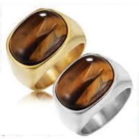 Cincin Batu Mata Harimau Titanium Pria Perhiasan Batu Permata Perak