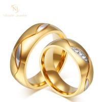 Nikayla Jewelry - Cincin Kawin Perak Warna Emas Motif Line Art D