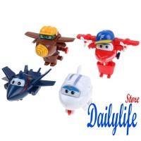 Nld-4pcs Mainan Robot Pesawat Mini Super Wings untuk Anak