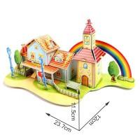 Mainan Jigsaw Puzzle 3D DIY Bentuk Kastil untuk Hadiah Anak