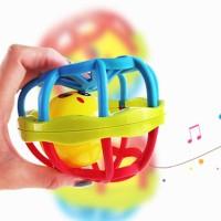 Mainan Bayi Bola Putar Rattle Teether Bahan Plastik Lembut Dengan Suar