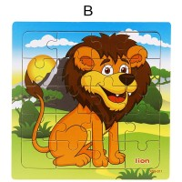 20Pcs Puzzle Edukasi Model Binatang Hutan Bahan Kayu