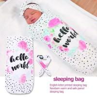 2pcs Newborn Baby Letters Print Sleeping Bag Warm Swaddle Headband Sui
