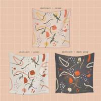 Printed Scarf Small Square Pattern Organic Cotton