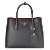 Prada Black Saffiano Cuir Double Medium bag Authentic 100%