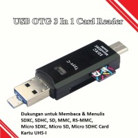 USB OTG 3 In 1 Card Reader USB - Micro Usb - Type-C With LED - Hitam