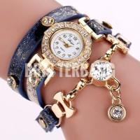 gelang jam tangan kristal kulit sintetis