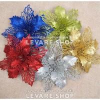 Bunga Artificial Natal Glitter - Dekorasi Hiasan Pohon Natal Parcel