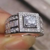 Cincin Pria Pernikahan Lapis Emas Putih 18k