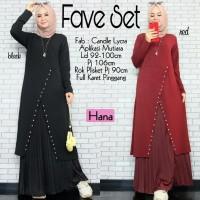 Baju Muslim Wanita Gamis Set Rok Plisket Fave