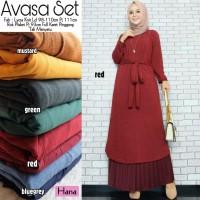 Gamis Set Baju Muslim Wanita Avasa Full Karet Pinggang