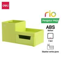 Deli EZ25150 ABS,PS Desk Organizer Green, 3comp., 1 drawer (Green)