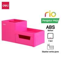 Deli EZ25140 ABS,PS Desk Organizer Magenta, 3comp., 1 drawer (Pink)