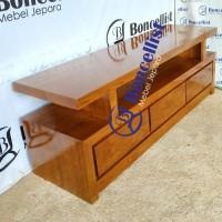 meja tv 3 laci minimalis modern kayu jati solid mebel jepara