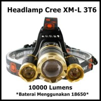 TaffLED Senter Headlamp Cree XM-L 3T6 10000 Lumens Baterai 18650