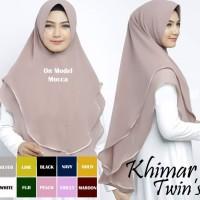 Hijab Khimar Syari Terbaru Jilbab Twins 2 Layer Ceruti Kerudung Jumbo