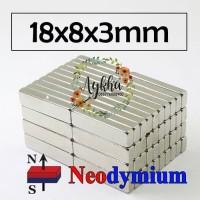 Magnet Strong Neodymium Super Kuat Kotak Persegi Panjang 18mmx8mmx3mm