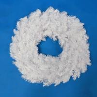 Aksesories Hiasan Natal Ornamen Wreath Krans Ring PVC Putih Polos