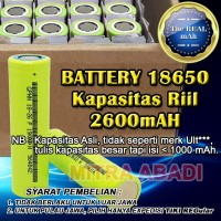 Baterai/Batre/Battery 18650 Kapasitas Riil 2600 mAh