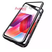 Oppo F7 Case Premium 2in1 Magnetic Glass Transparant Casing