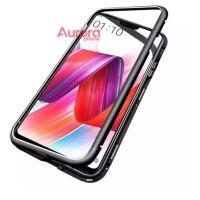 Oppo F7 Case Premium 2in1 Magnetic Glass Transparant Casing