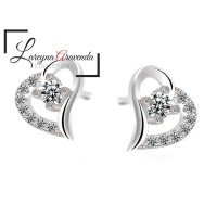 Anting Korea Wanita Silver S925 Model Love Twist Crystal Kristal AT069